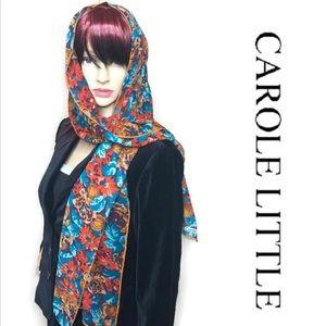 Vintage Carole Little Scarf Autumn Fall Green Silk